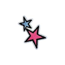 Strijkapplicatie sterren roze/paars | 3 x 5 cm