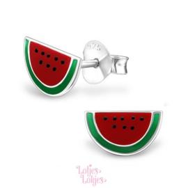 Zilveren kinderoorbellen halve watermeloen