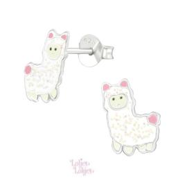 Zilveren kinderoorbellen alpaca glitter