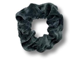 Scrunchie velvet donkergrijs