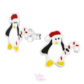 Zilveren kinderoorbellen pinguïn met kerstmuts
