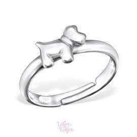 Zilveren kinderring hondje | zilver