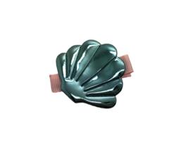 Haarlokspeldje met schelp metallic blauw