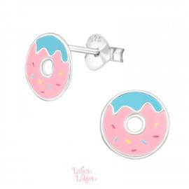 Zilveren kinderoorbellen donut roze