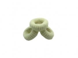 Badstof haarelastiekjes ivoor (set van 3)
