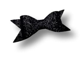 Glitter haarstrik zwart XL | 10 cm