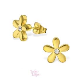 Kinderoorbellen chirurgisch staal bloemetje | goud