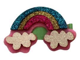 Haarlokspeldje mintgroen met regenboog glitter