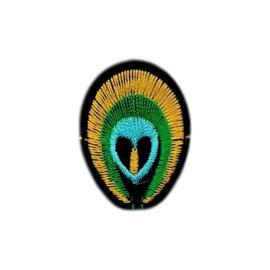 Strijkapplicatie pauw  | 2,5 x 4 cm
