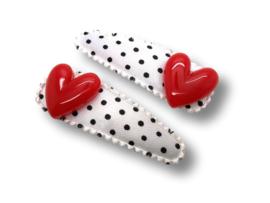 Haarspeldjes wit - zwarte stippen met rode hartjes