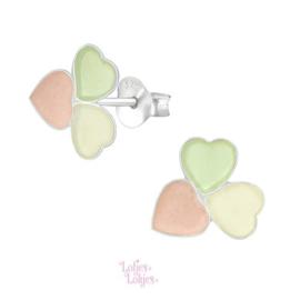 Zilveren kinderoorbellen hartjes pastel
