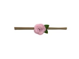 Nylon haarbandje met vilten roos lichtroze