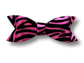 Leder-look haarstrik zebra roze | 8 cm
