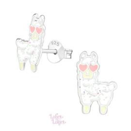 Zilveren kinderoorbellen alpaca hartjes