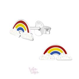 Zilveren kinderoorbellen regenboog glitter