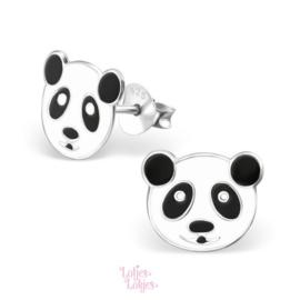 Zilveren kinderoorbellen panda