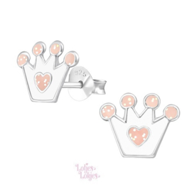 Zilveren kinderoorbellen kroontje