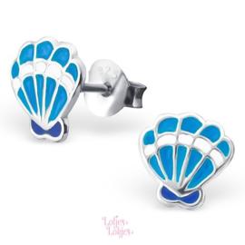 Zilveren kinderoorbellen schelp blauw