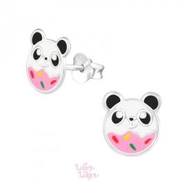 Zilveren kinderoorbellen panda donut