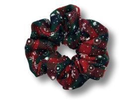 Scrunchie ruit groen/rood Winter