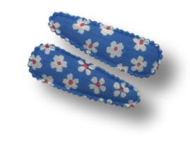 Haarspeldjes blauw met madeliefjes