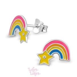 Zilveren kinderoorbellen regenboog ster