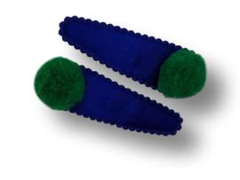 Haarspeldjes felblauw met pompom groen