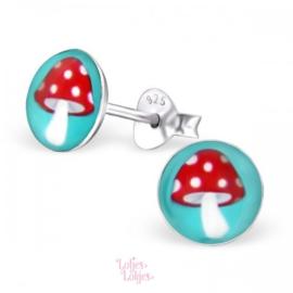 Zilveren kinderoorbellen paddestoel (rond)