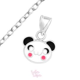Zilveren kinderketting panda met roze wangen
