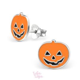 Zilveren kinderoorbellen pompoen | Halloween