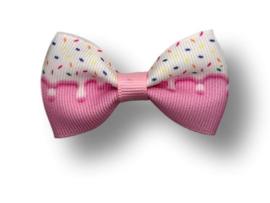 Luxe haarstrik roze sprinkles