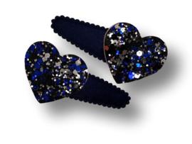 Haarspeldjes donkerblauw met hart glitter