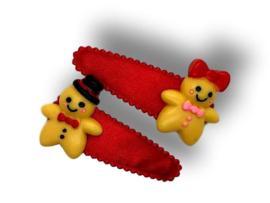Haarspeldjes rood met gingerbread-koekjes