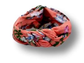 Haarband gevlochten zalmroze met bloemen