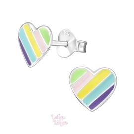Zilveren kinderoorbellen hart multicolor