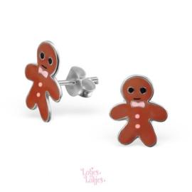 Zilveren kinderoorbellen gingerbread man | roze