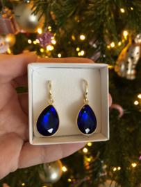 Creolen goud met hanger crystal | saffier-donkerblauw