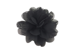 Haarbloem chiffon zwart