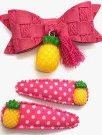 Voordeel-pakket Ananas (haarstrik+set haarspeldjes)