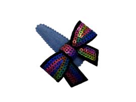 Haarspeldje denim met glitterstrik regenboog