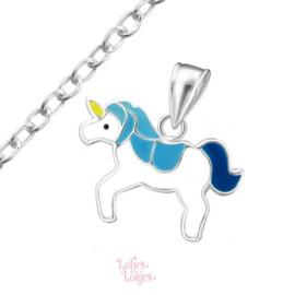 Zilveren kinderketting eenhoorn blauw-wit