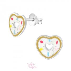 Zilveren kinderoorbellen donut hartje