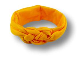 Haarband gevlochten geel