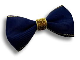 Luxe haarstrik donkerblauw | goud
