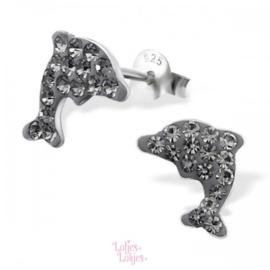 Zilveren kinderoorbellen dolfijn grijs | kristal
