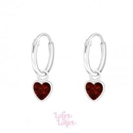 Zilveren kinderoorbellen creolen met hartje rood | kristal