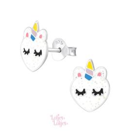 Zilveren kinderoorbellen eenhoorn hart