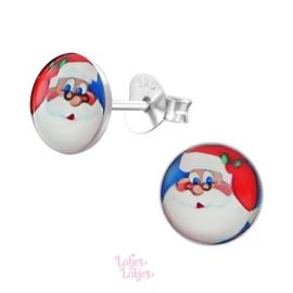 Zilveren kinderoorbellen Kerstman (rond)