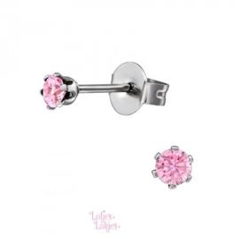 Kinderoorbellen chirurgisch staal knopje kristal roze | zilver