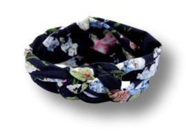 Haarband gevlochten donkerblauw met bloemen